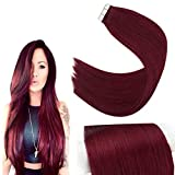YoungSee Burgundy Remy Hair Tape in Extensions Human Hair Wine Red Solid Color Tape Extensions Glue in Real Human Hair 20 Inch 20pcs 50g