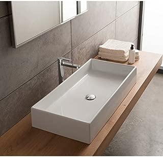 Scarabeo 8031/80-No Hole Teorema Rectangular Ceramic Vessel Sink, White
