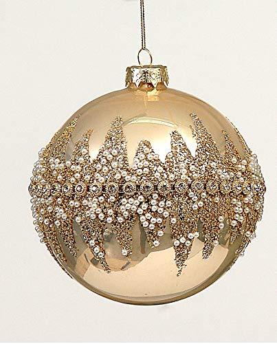 Decorazione Albero Natale Palla Vetro 12cm Oro Perle Glitter da Appendere