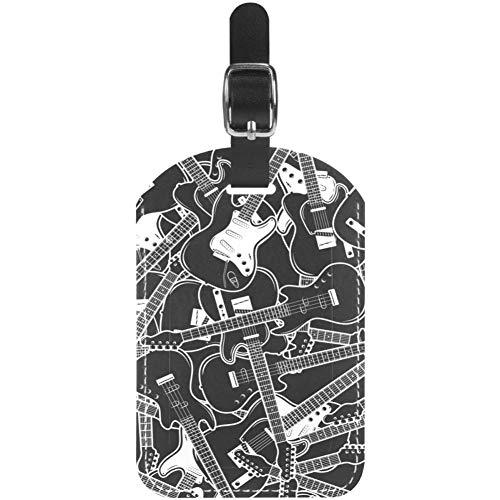 TIZORAX Etiquetas de equipaje para guitarra, instrumentos musicales, de cuero, para maleta de viaje, 1 paquete