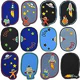 Chstarina 12Pcs Parches Ropa Termoadhesivos Astronauta,Parches Bordados Cosidos Rodilleras Termoadhesivas Niños Rodilleras Pantalones Parches Termoadhesivos Infantiles Patch Sticker Para Jeans
