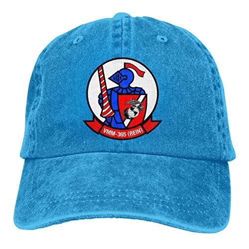 Azmgh85dm Men Women VMM-365 Blue Knights Insignia Baseball Cap Denim Dad Hat Trucker