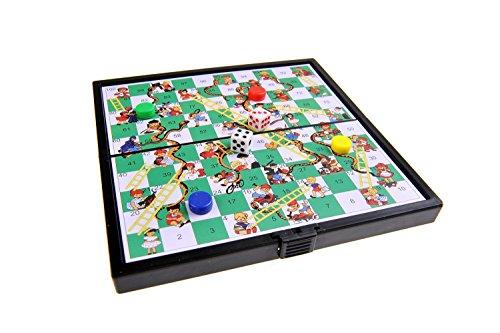 Magnetisches Brettspiel (Super Mini Reise-Edition): Leiterspiel / Schlangen und Leitern / Snakes and Ladders - magnetische Spielsteine, Spielbrett zusammenklappbar, 12,8cm x 12,8cm x 1cm, Mod. SC3630 (DE)