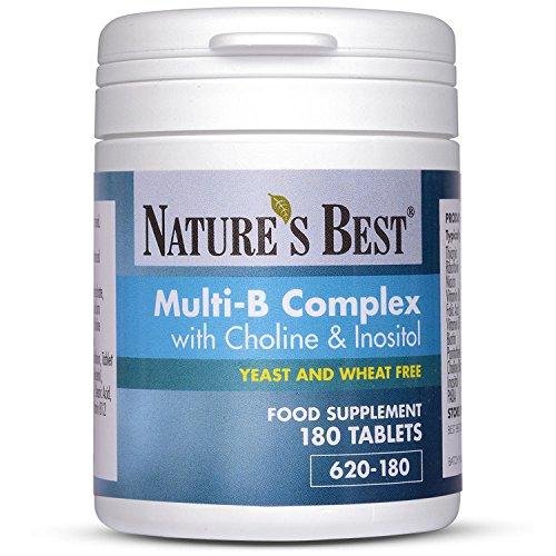 Multi B Complex with Choline & Inositol - Powerful Vitamin B-Complex containing 11 Essential B Vitamins - 180 Vegetarian Tablets – One-A-Day Formula – 6 Month's Supply - High Strength – UK Made