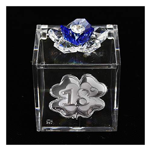 DLM31866-azzurro Scatolina Cofanetto Portaconfetti con Fiore in Cristallo e Quadrifoglio...