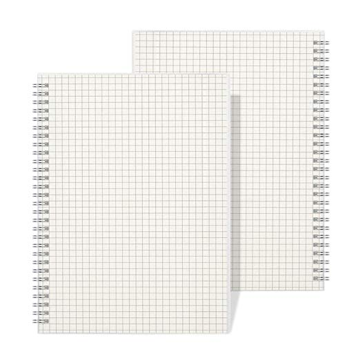 Graph Grid Paper Notebook - Wiisdatek A5 Graph Paper Notebook with Clear Hardcover,320 Pages Total,5.5 x 8.5 in(2 PACK)