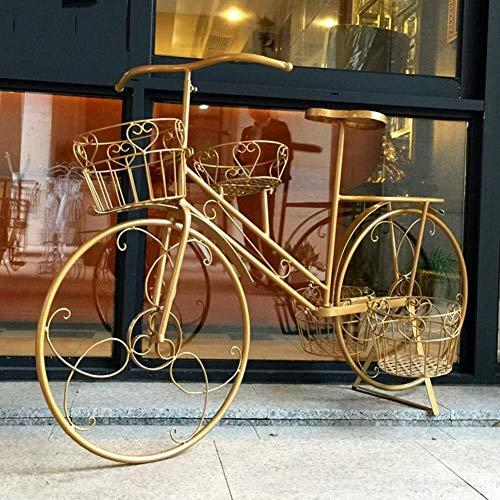 HYL Blumentreppe Stehen Blume Regal Eisen-Kunst-Fahrrad-Stand Europäische Fensterdekoration Prop Dekoration Blumenständer (Color : Gold)