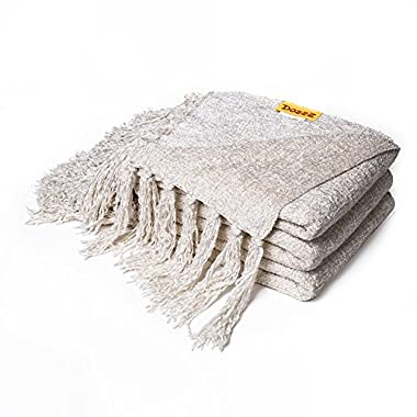 DOZZZ Chenille Couch Throw Blanket with Decorative Fringe for Home décor Gift Farmhouse and Sofa Chair Bed Furniture Cover, Ivory