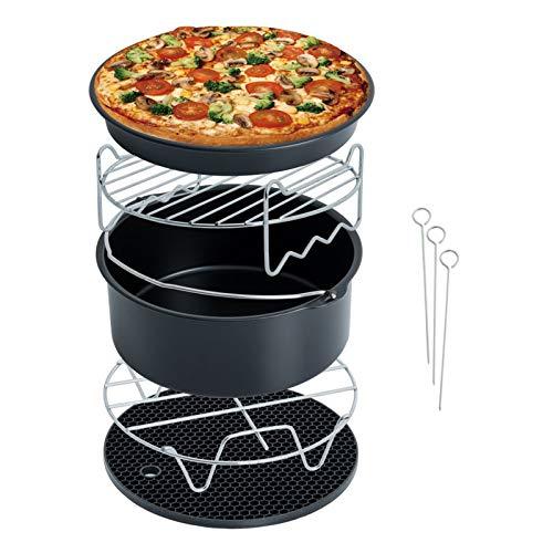 8 stuks heteluchtfriteuse accessoires, accessoires voor friteuse met bakvorm, pizzapan, grillrooster, stoomplank, siliconenmat, voor 3,5 l - 4,5 l alle merken luchtfriteuse