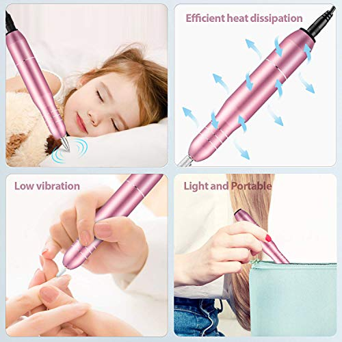 Electric Nail Drill kit,2020 Upgraded Professional Nail File,Portable Manicure Pedicure Drill Kit for Acrylic Nails, Gel…