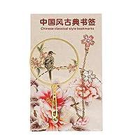 YALW 文具 メタルブックマーカー 中国風 ページマーク ブラス ブックマーク タッセル ブッククリップ(Peach and Bird)