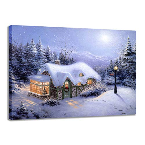 Canvas Wall Art Winter Snowy Scene Christmas Lights On The House Light Up Prints Abstract Modern Banksy Picture,Artwork Painting Print On Canvas For Home Decor Office Bathroom Frameless,70X105 Cm 27
