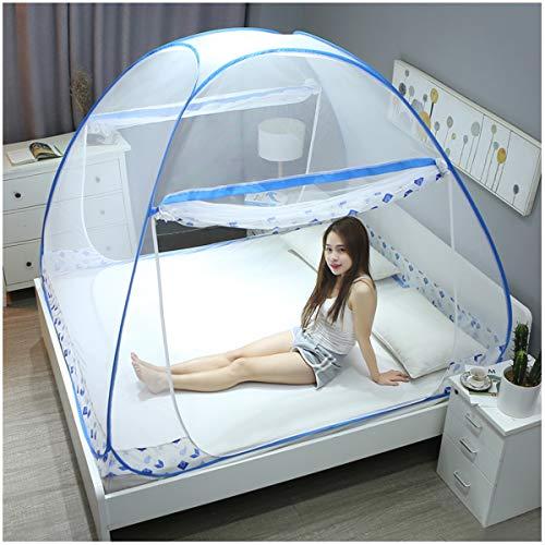 Yangm Opvouwbaar muggennet voor tweepersoonsbed, openingen aan 2 zijden, voor thuis, ook op reis, 180 x 200 x 160 cm