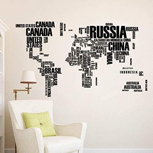 Etiqueta De La Pared Mapa Del Mundo Con El Nombre En Inglés De Los Países Stikers De Pared Para Oficina Aula Sala De Estudio Decoración Del Hogar Pvc Mural Art Diy Wall Decal