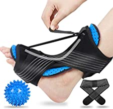 2020 Updated Version Plantar Fasciitis Night Splint, Efferey Night Splint for Plantar Fasciitis, Adjustable Plantar Fasciitis Splint Night with Massage Ball and Bandage (Blue)