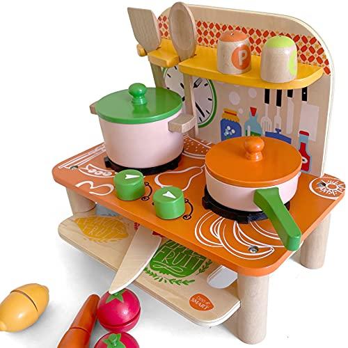 bee SMART Cuisine Enfant en Bois, Jeu de Cuisine Jouet de Cuisine avec Accessories pour Enfants