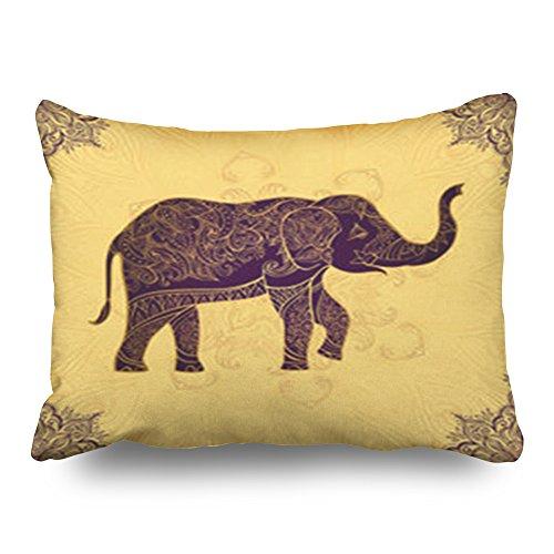 LOLYeah Fundas de Almohada Decoración del hogar, Diseño de Elefante Indio, Colores Dorados, Adornos de Animales Salvajes, Estilo Vintage, Tribal, Henna