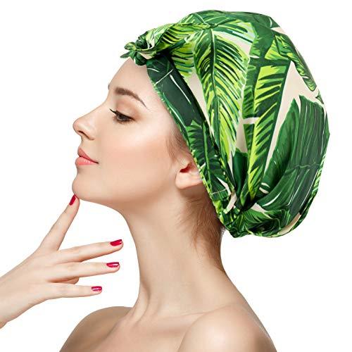 SOSPIRO Shower Cap, Reusable Adjustable Waterproof Shower Caps for Girls Women Coconut Tree Style(Coconut Tree)