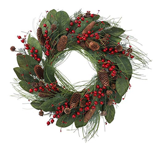 YNYLCHMX 24 Inch Christmas Wreath for Front Door, Artificial Door Wreath Flushed with Magnolia Leaves with Red Berry with Pine Cones Pine Needle, Home Decor for Indoor, Windows, Holiday, Decoration