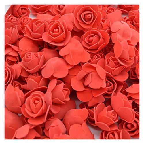 HAIJUNSM Künstliche Blumen 100 stücke 3 cm Schaum Mini Rosen künstliche Blumen für Hochzeit Dekoration Party DIY handgemachte Handwerk Haus Garten liefert (Color : F06 red)
