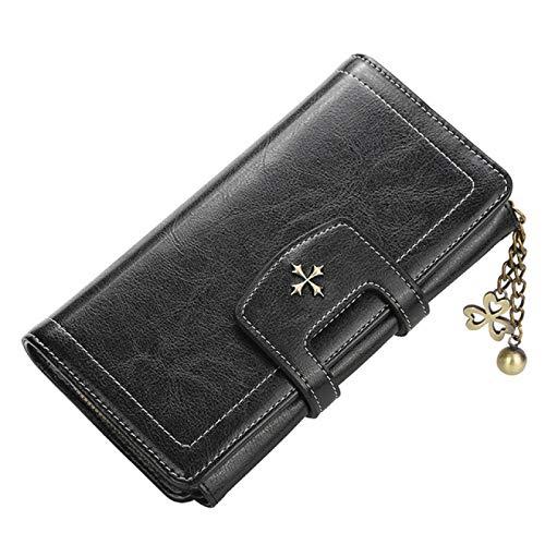 Las mujeres grandes carteras larga cartera cadenas de moda de cuero de la PU titular de la tarjeta de la mujer bolso de cremallera monedero para
