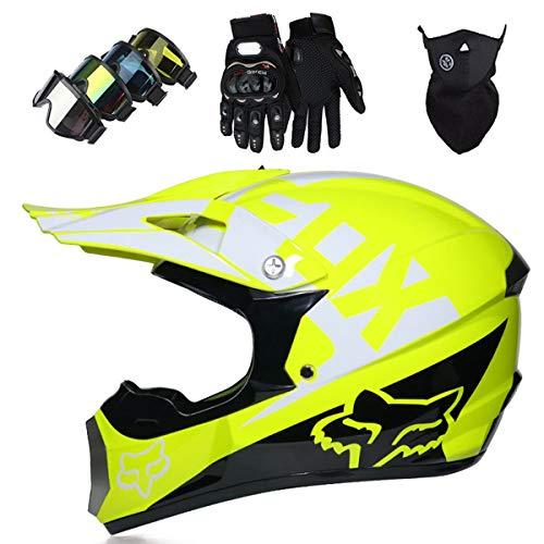 KIVEM Casco Motocross, Niños Adult DH Motocicleta Cross Helmet Set (Gafas Guantes Máscara) para MTB ATV Scooter Downhill Off Road - Dot/ECE - con Diseño de Fox - Personalidad Cool - Amarillo,L