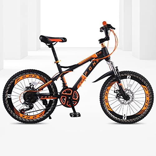 DSENIW Bicicleta De Montaña para Niños, 22 Pulgadas, 21 Velocidades, Estructura De Acero con Alto Contenido De Carbono, Fácil Montaje. Sistema De Frenos Seguro para Niños. Rojo Verde Naranja,Naranja