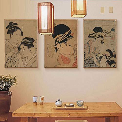 "Retro Japonés Ukiyo-E Figura De Belleza Lienzo Pintura Spa Restaurante Mural Clásico Señoras 3 Piezas Cartel De Imagen De Pared Sala De Estar Decoración Del Hogar 16""X24""X3Panels"