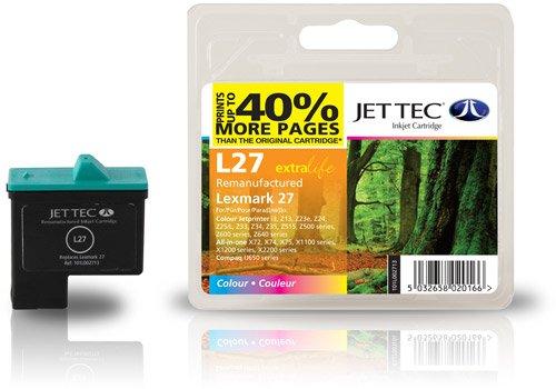 Jettec Lexmark 27 Tri-color compatibles Lexmark Cartucho de tinta para impresora Compaq IJ650 IJ652 Lexmark i3 X1100 X1110 X1130 X1140 X1150 X1155 X1160 X1170 X1180 X1185 X1190 X1240 X1250 X1270 X1290 X2230 X2240 X2250 X72 X74 X75 Z13 Z23e Z25L Z33 Z34 Z35 Z512 Z513 Z515 Z517 Z592 Z593 Z597 Z600 Z601 Z602 Z603 Z604 Z605 Z607 Z608 Z612 Z613 Z614 Z615 Z617 Z640 Z645 Z713 Z75