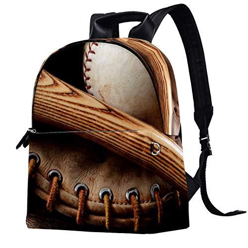 TIZORAX Old Baseball Bat and Glove Old Wood Leather Backpacks Casual Daypacks Travel Bags School Bag for Men Women Girls Boys