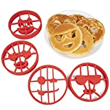 Emoji Pancake Molds and Egg Rings (4 Pack) for Kids AND Adults - Reusable Silicone Smiley Face Maker Doubles as Cookie Maker Set