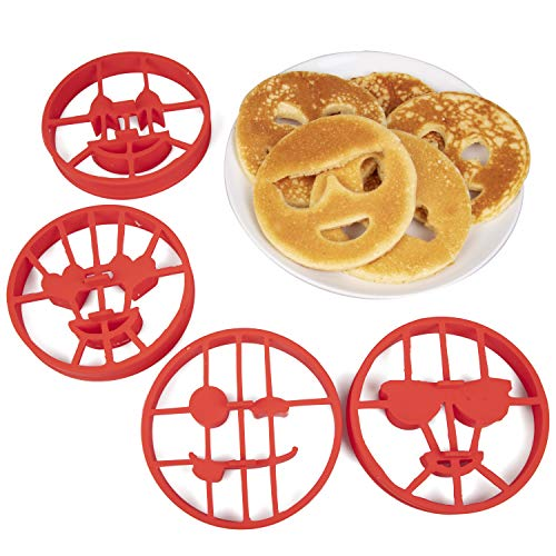 Emoji Pancake Molds and Egg Rings 4 Pack for Kids AND Adults  Reusable Silicone Smiley Face Maker Doubles as Cookie Maker Set FDA Approved BPA Free Food Safe Heat Resistant Silicone