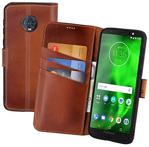 Suncase Book-Style (Slim-Fit) Leather Case Mobile Phone Case Cover (met standaard functie en kaartenvak - onbreekbare binnenschaal) voor Motorola Moto G6 Plus, gebrand cognac