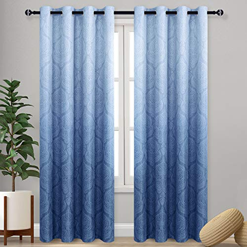 DWCN Ombre Blackout Curtains for Bedroom - Damask Patterned Thermal Insulated Energy Saving Grommet Curtains for Living Room, Set of 2 Gradient Window Curtain Panels, 52 x 84 Inches Long, Navy Blue