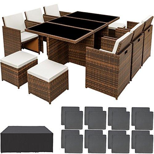 TecTake 800855 Conjunto de Muebles de Jardín Poliratán, Set Exterior 6X Sillas 4X Sillones Puf 1x Mesa, Incl. Funda Completa & Fundas Intercambiables (Marrón-Negro)