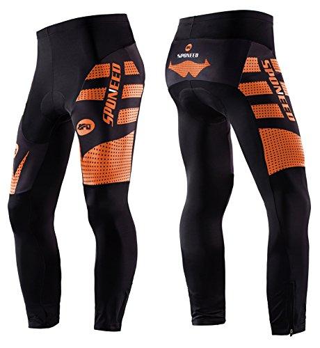 sponeed Men's Bike Pants Cycling Tights Padded Bicycle Shorts Pants Asian M/US S Orange