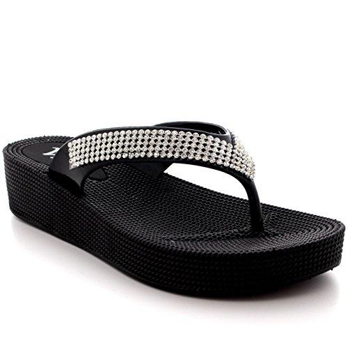 Sandalias para mujer de Viva, para playa, tiras con diamantes, color Negro, talla 39