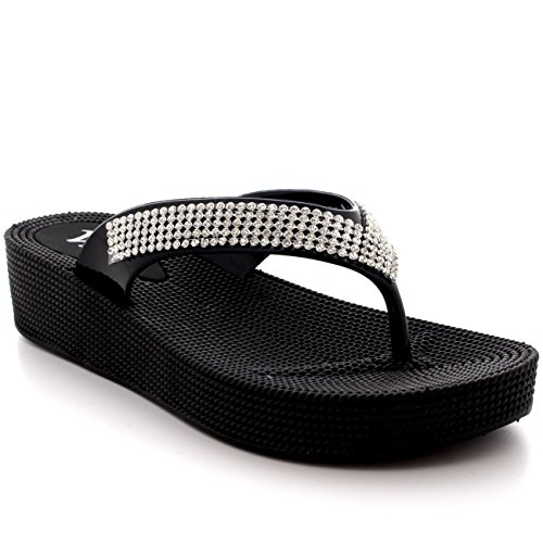 Womens Beach Holiday Thong Sandals Jelly Wedge Heel Diamante Flip Flops - Black - UK6/EU39 - PN0001
