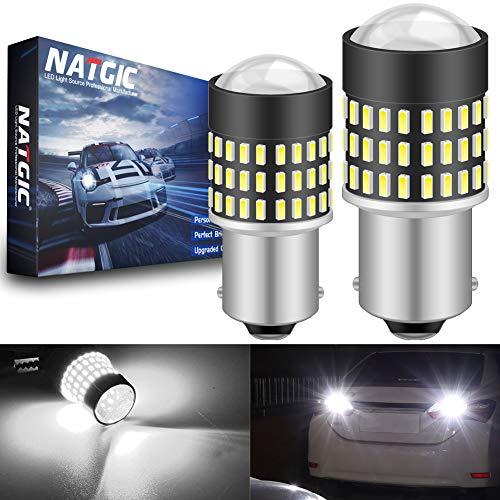 NATGIC 1156 BA15S 7506 Ampoules LED 1800LM 3014SMD 78-EX avec projecteur pour objectif, feux de recul pour feux de position latéraux de frein, blanc xénon, 12-24V (pack de 2)