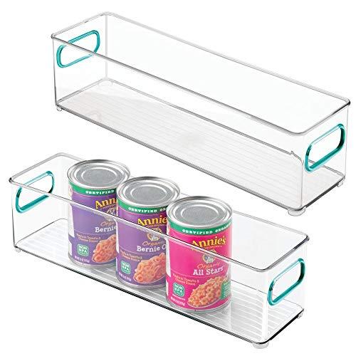 mDesign Contenedor apilable de plástico para almacenamiento de alimentos con asas para cocina, despensa, armario, nevera, congelador, organizador largo y estrecho para aperitivos, productos, verduras, pasta, 2 unidades, transparente/azul