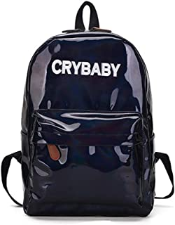 Yuns Holographic Laser Leather Backpacks Bookbag Travel Casual Daypack for Girls and Boys (black01)