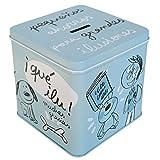 Laroom Hucha Metálica diseño Pequeños Ahorros para Grandes Ilusiones, Metal, Azul, 12x12x12 cm