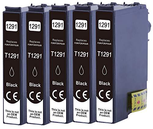 5 Druckerpatronen XL nur Schwarz ersetzen Epson T1291 geeignet z.B. für Epson Stylus SX230, Stylus SX235, Stylus SX420, Stylus SX425, WF 3520, WF 3530, WF 3540