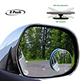lebogner 2 Pack Blind Spot Accessories 2' Round HD Glass Slim Frameless Convex Rear View, Wide Angle 360°Rotate 30°Sway Adjustable Stick On Mirror for All Cars, SUV, and Trucks