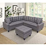 UNIROI Grey Sectional Chaise Lounge and Ottoman, Modern L-Shape Couch for Living Room Large Sofa Furniture Set with 6 Pillows