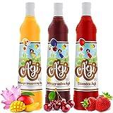 Agi Fruchtsirup Mango-Lotusblume-Erdbeere-Kirsch-Pflaume Geschmack | Getränke Sirup in Glasflaschen | mit Zucker und Vitamin C | Soda Sirup ideal mit Wassersprudler-Systemen 3erPack(3x700ml)