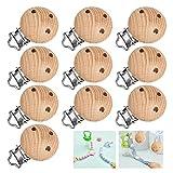 nuoshen 10 Stücke Holz Schnullerketten Clips, Schnuller Clip Baby Clip Nippel Halter für Baby und Kinder