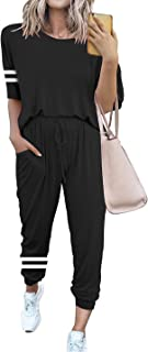 Women's Two Piece Outfits Casual Tracksuits Short Sleeve Sweatsuits With Pockets