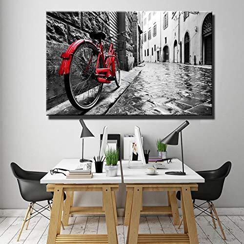 BailongXiao Digitales Ölgemälde der städtischen und ländlichen Landschaft, das Leinwandkunst rotes Fahrrad-Leinwand-Ölgemälde auf der Straße druckt,Rahmenlose Malerei,45x30cm
