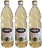 Aceto di vino bianco PONTI (3 x 1000ml) in bottiglia di PET - Aceto di Vino Classico Bianco